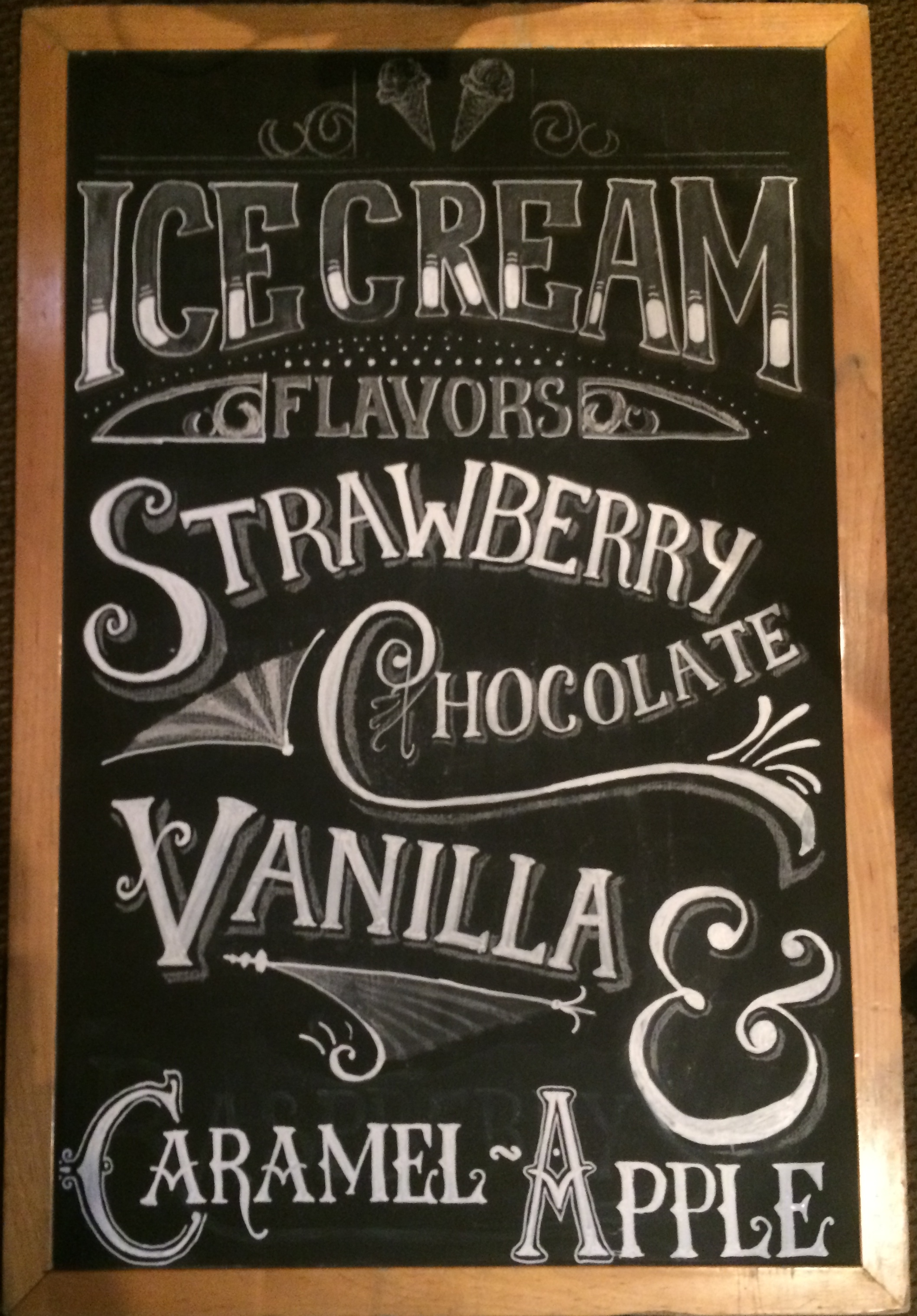 Ice Cream Chalk Board, featuring hand lettering  |Art, Design and more found at www.optimisticallygreen.com